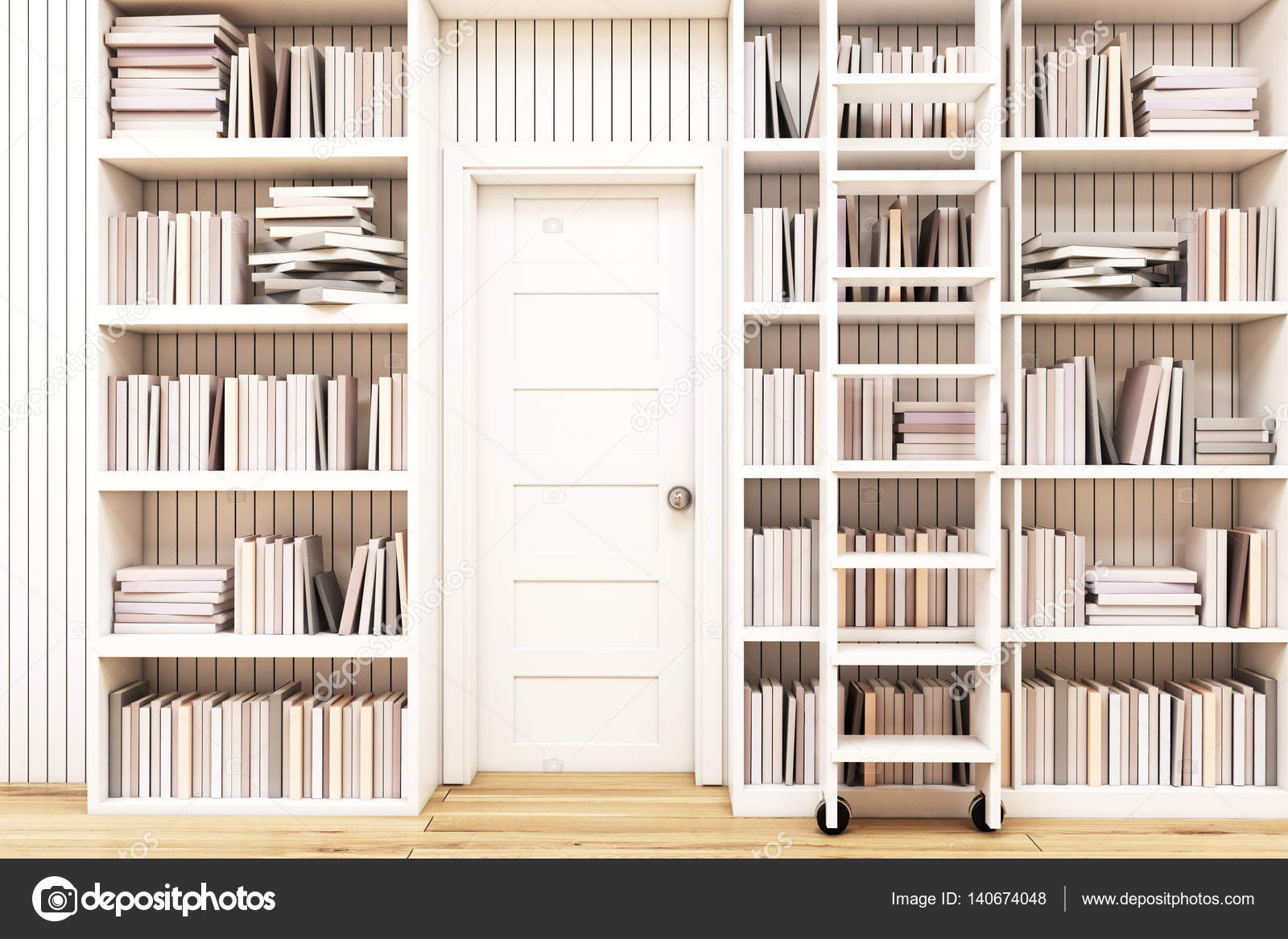 Biblioteca Em Casa Com Uma Escada Fotografias De Stock  ~ Biblioteca No Quarto E Quarto De Bebê Moderno