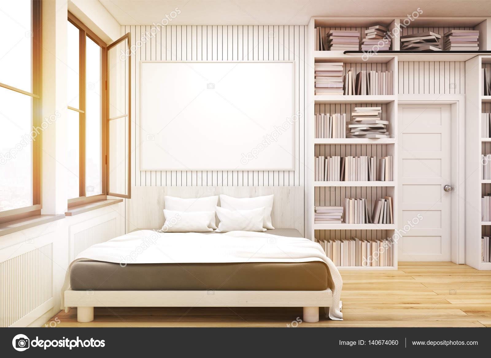 Libreria Sopra Letto : Libreria di casa con un letto tonico u foto stock