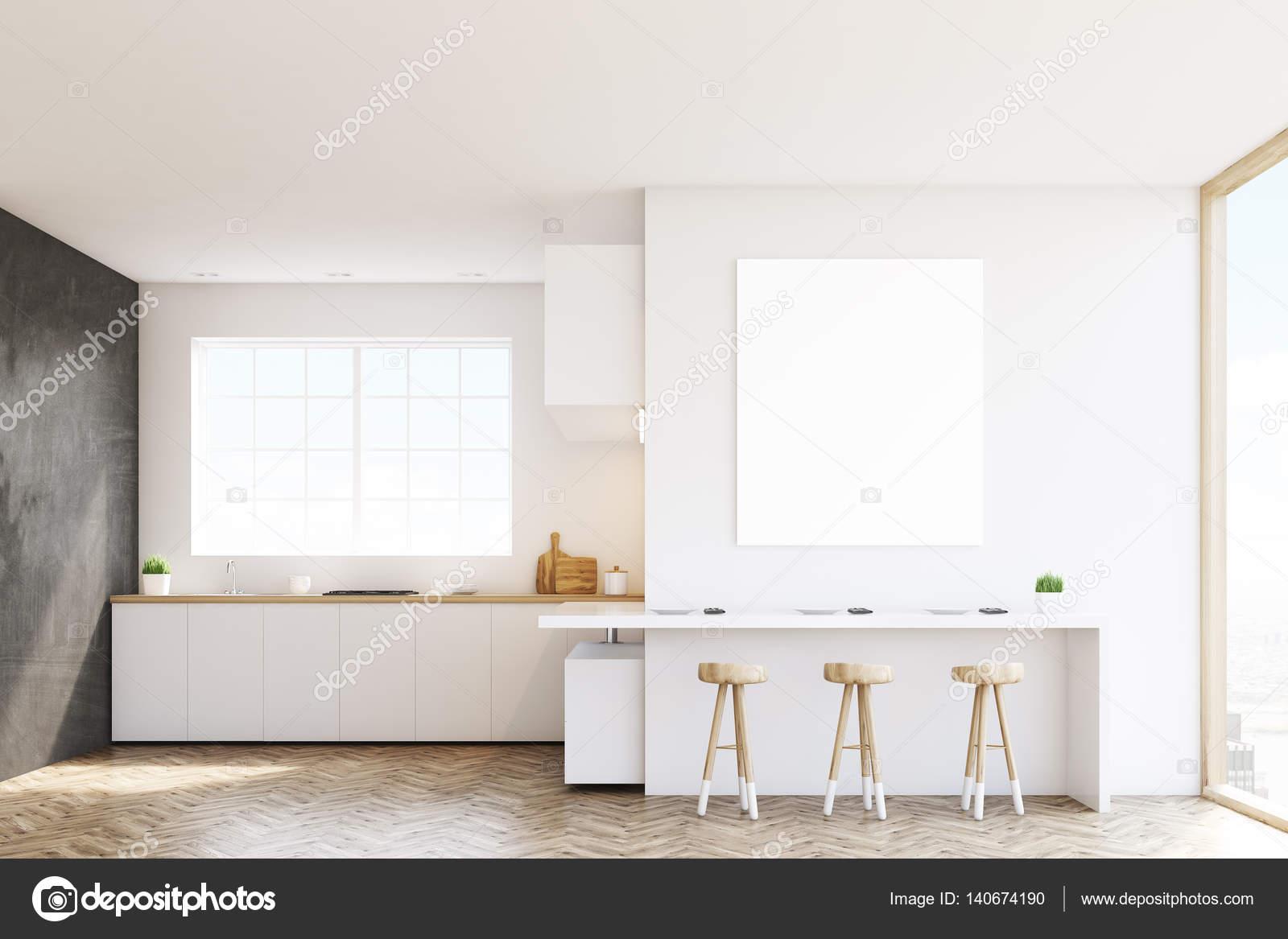 Schon Küche Mit Fenster, Arbeitsplatten, Einen Tisch Und Drei Stühle. Schwarze  Und Weiße Wände. Konzept Für Ein Gemütliches Zuhause. 3D Rendering.