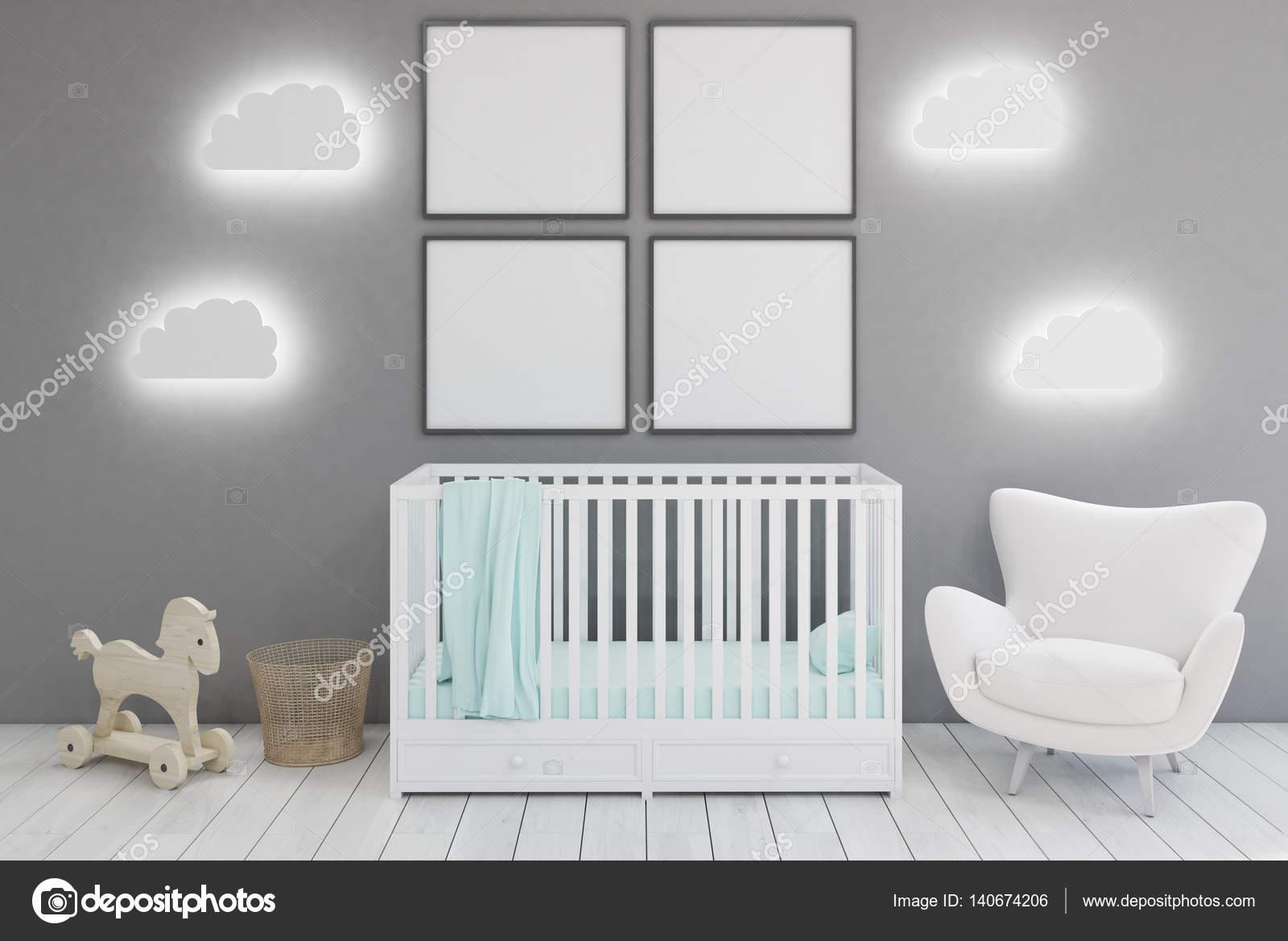 66c4462c702 Παιδικό δωμάτιο με πολυθρόνα και αφίσες — Φωτογραφία Αρχείου ...