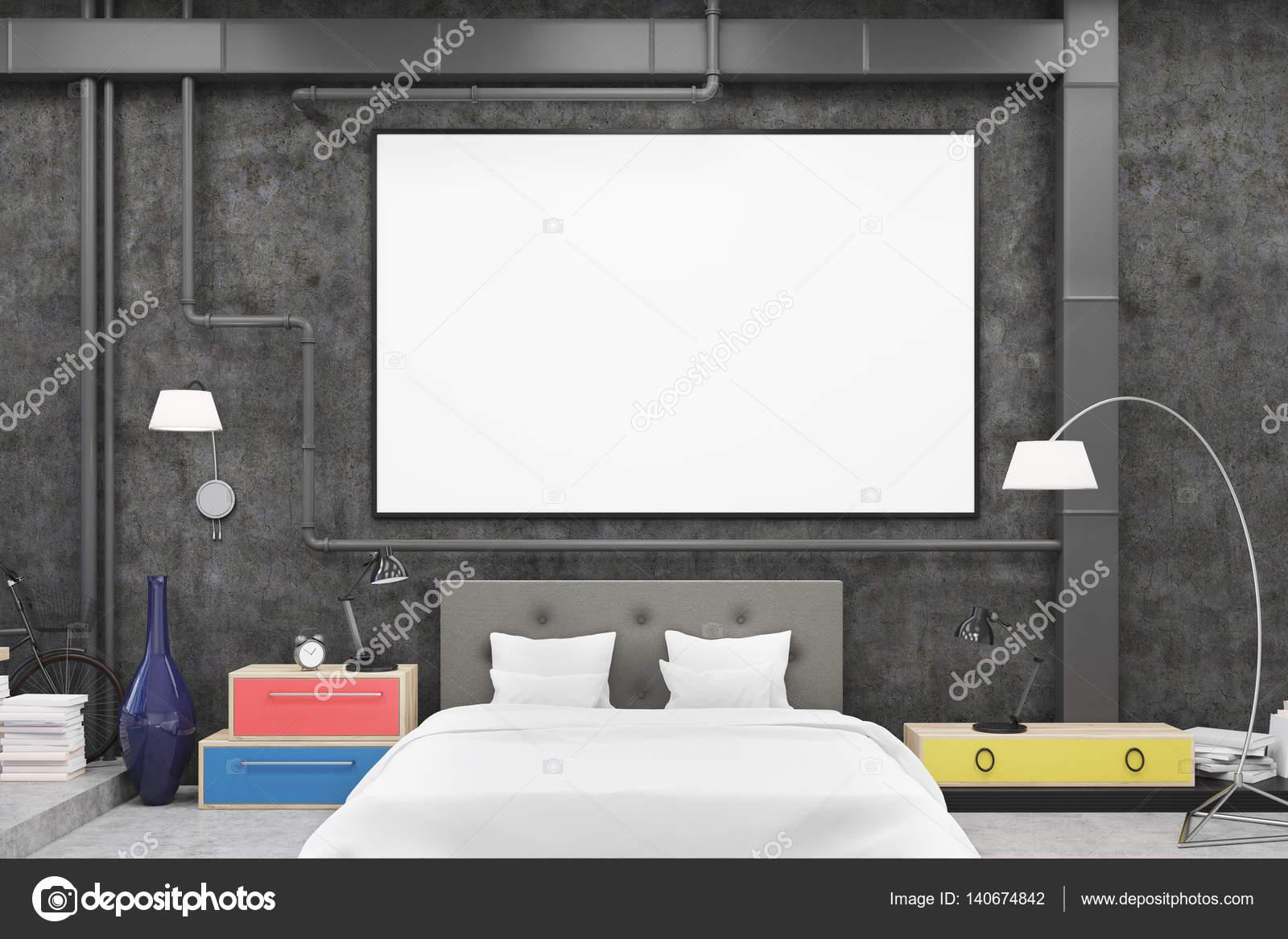 Slaapkamer Zwarte Muren : Slaapkamer met zwarte muren en poster vooraanzicht u2014 stockfoto