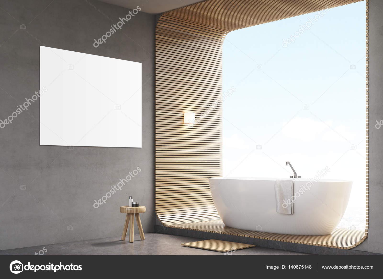 Affiche Salle De Bain ~ salle de bain avec une affiche sur le mur gris et affiche