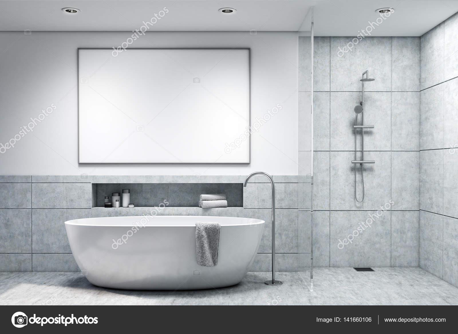 Bagno con piastrelle ligth grigio tonica u foto stock
