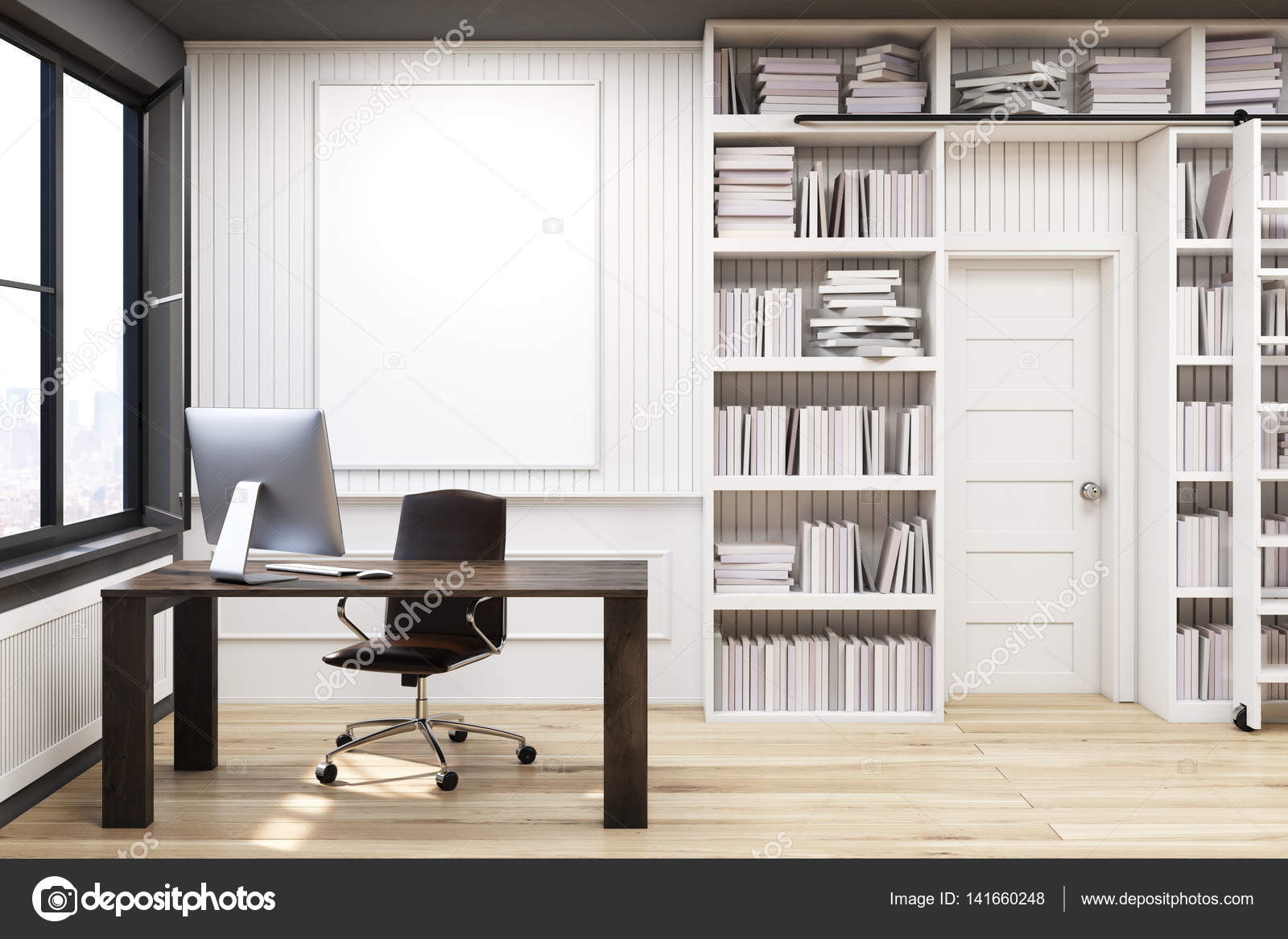 Home library with a brown table — Stock Photo © denisismagilov ...