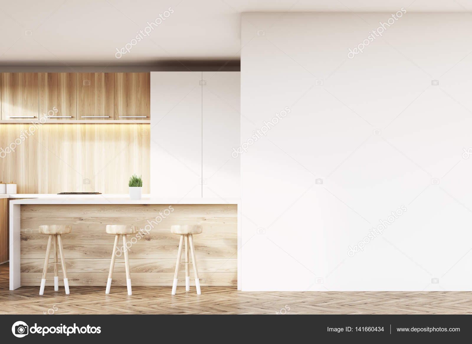 Weiß und Holz Küchenbar — Stockfoto © denisismagilov #141660434