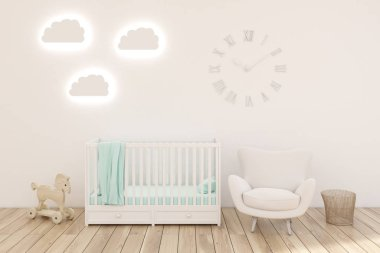 Kids room with clocks, white walls.