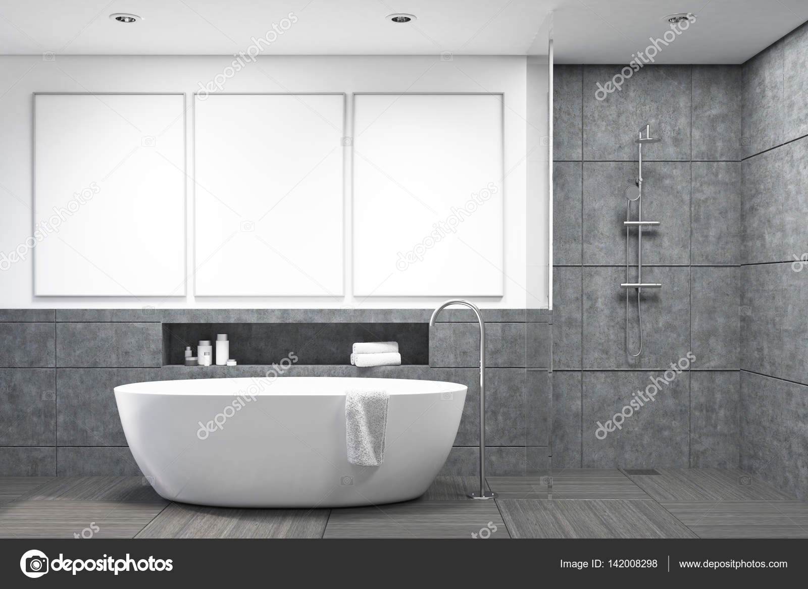 Badkamer met donkere grijze tegels, galerij — Stockfoto ...