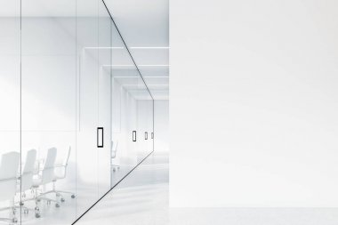 Office corridor, white and glass