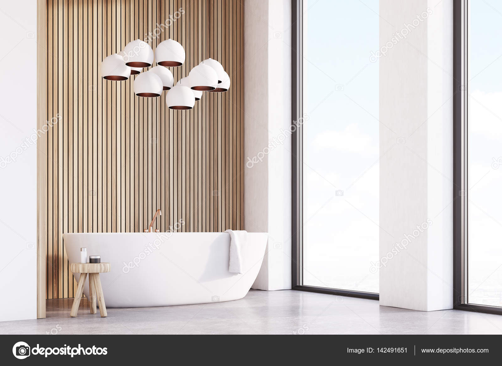 Badkamer met lampen, licht hout, hoek — Stockfoto © denisismagilov ...