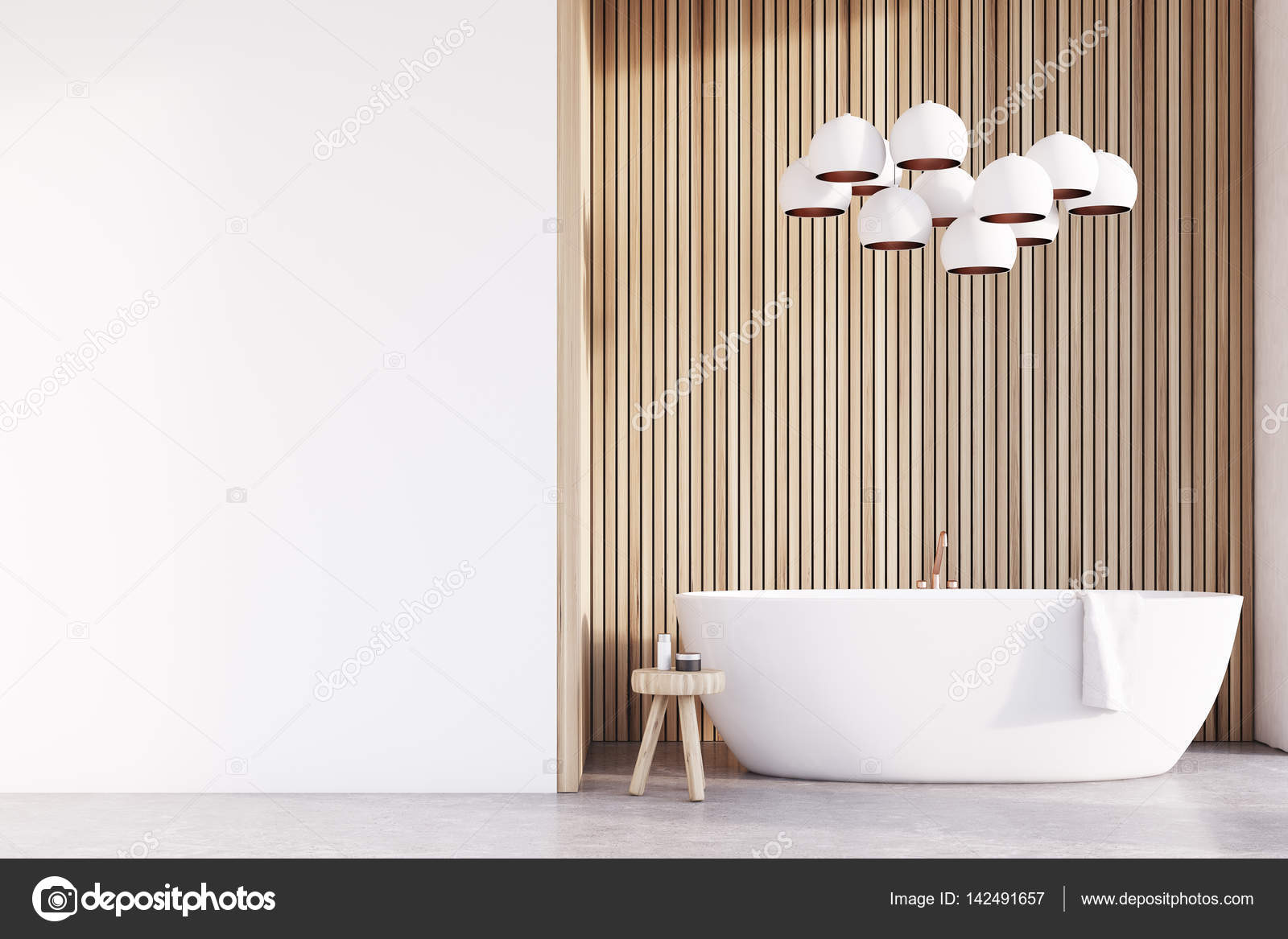 Badkamer met lampen, licht hout, muur — Stockfoto © denisismagilov ...