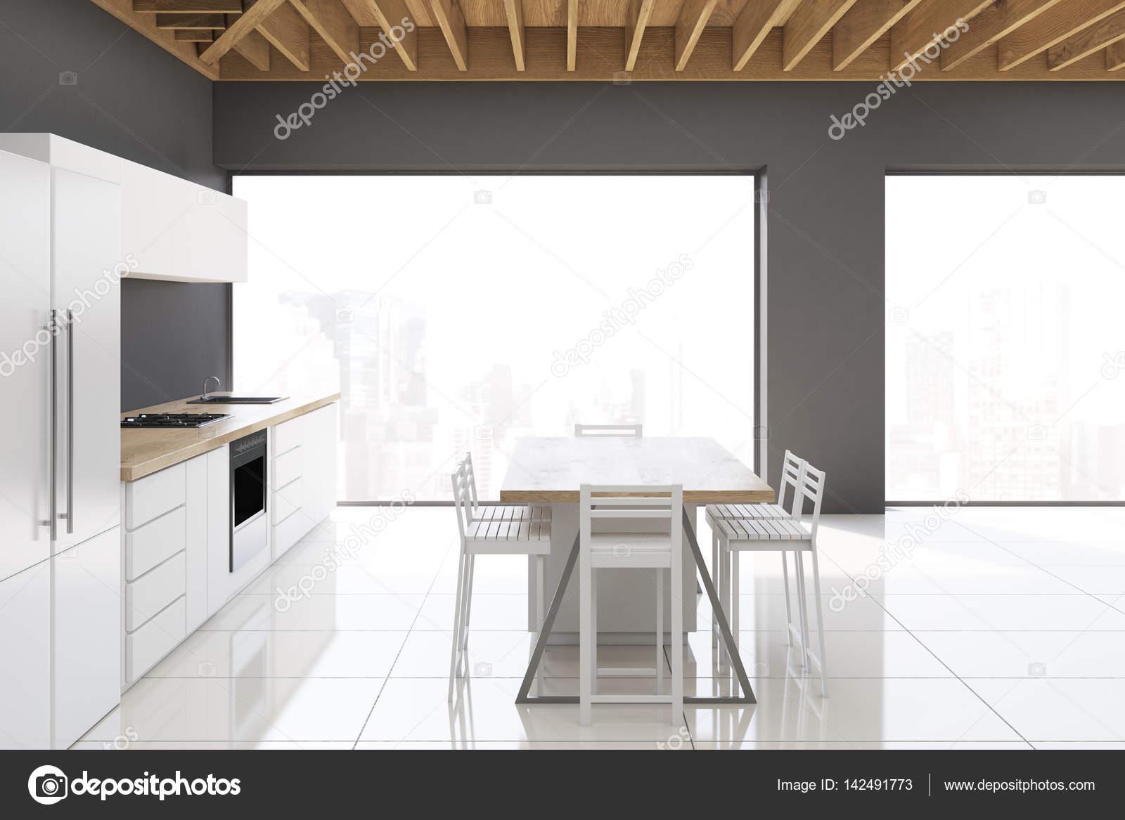 Cozinha Com Fezes E Quadro Estreito Lado Fotografias De Stock