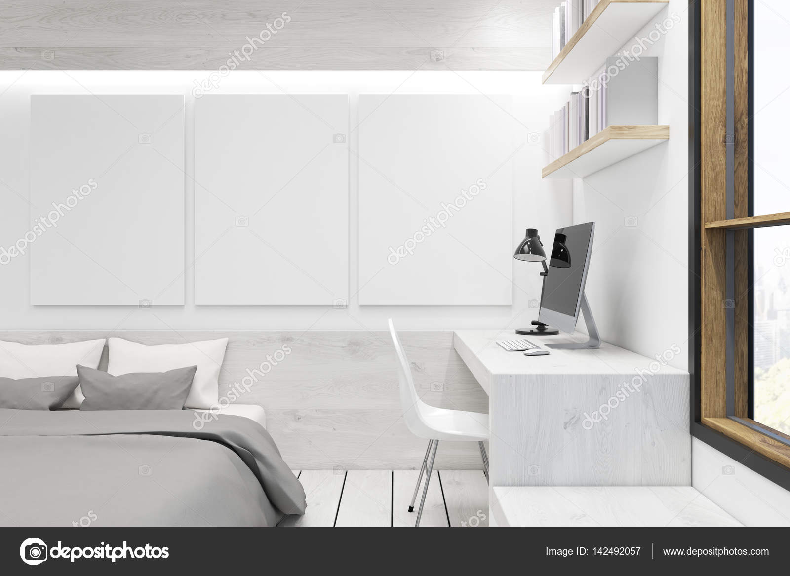Schlafzimmer mit Bild Galerie, weißes Holz — Stockfoto ...