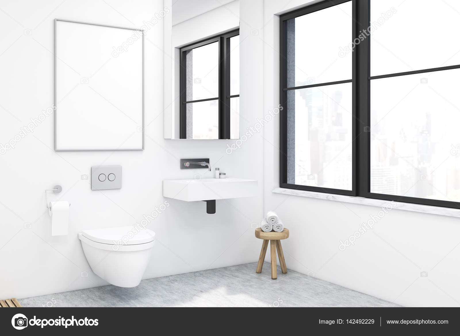 Vista laterale di un bagno con un lavandino u foto stock
