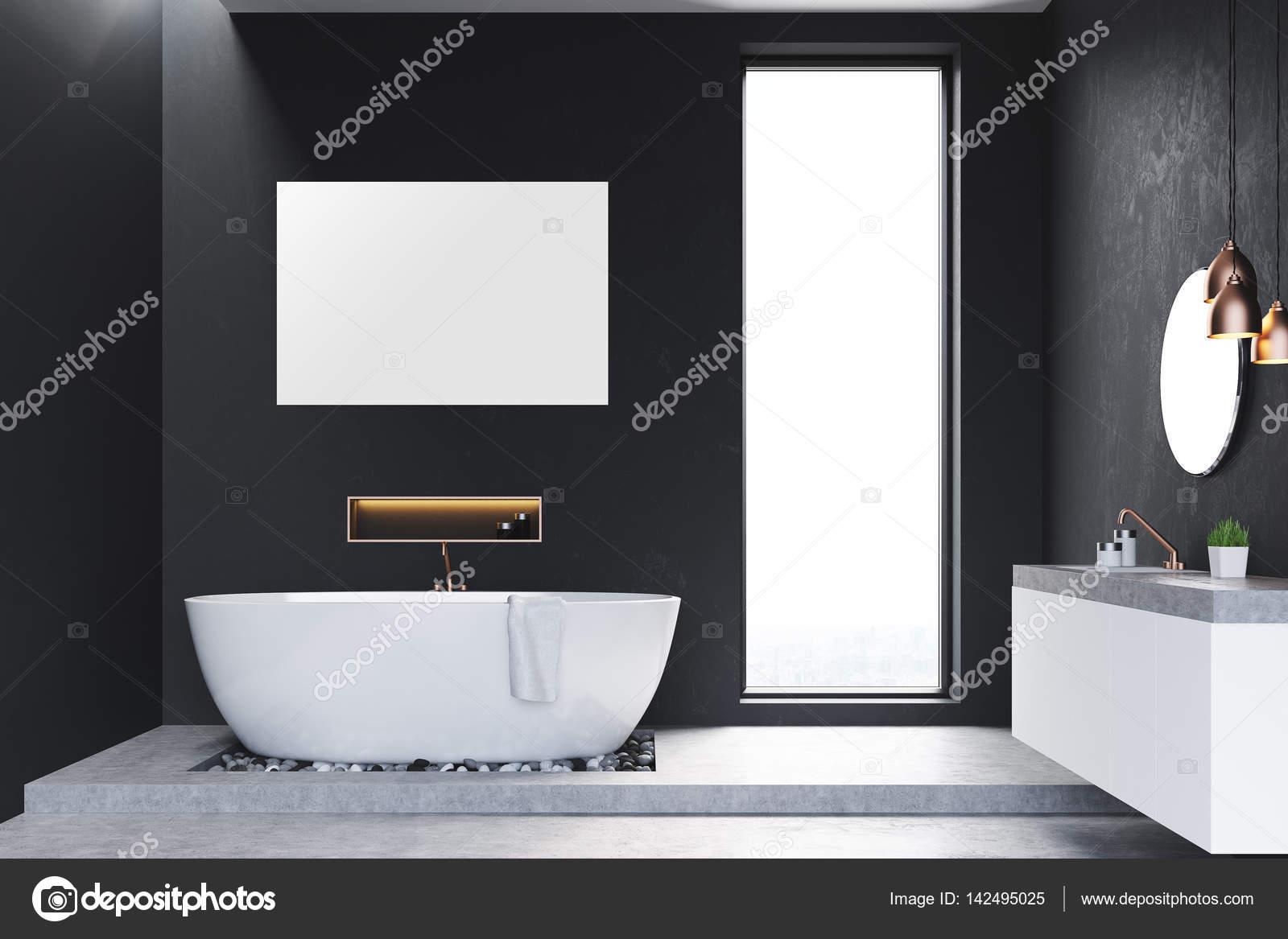 Bad Mit Fenster Und Poster Stockfoto Denisismagilov 142495025