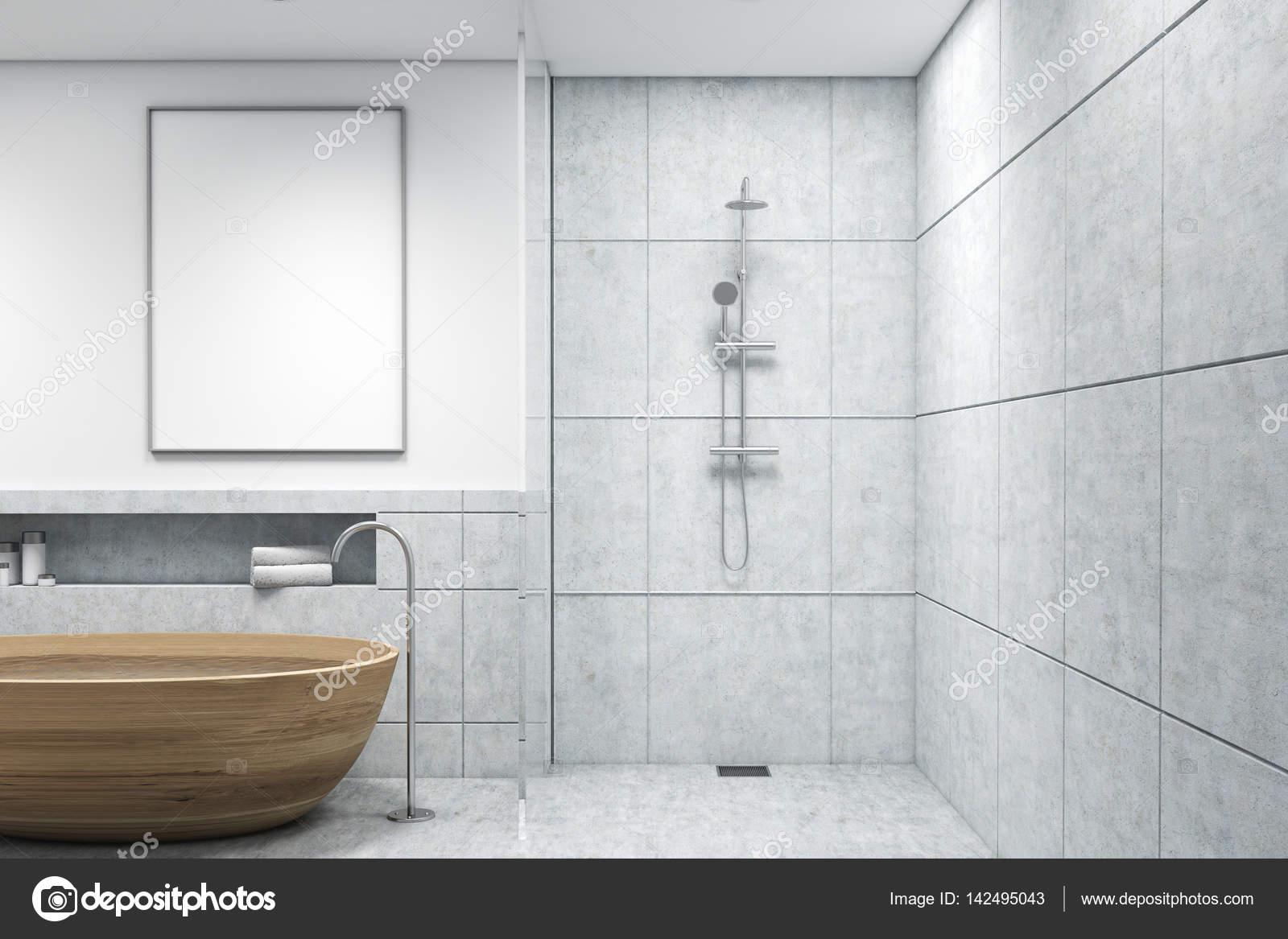 Vasca Da Bagno Verticale : Bagno con vasca in legno poster verticale u foto stock