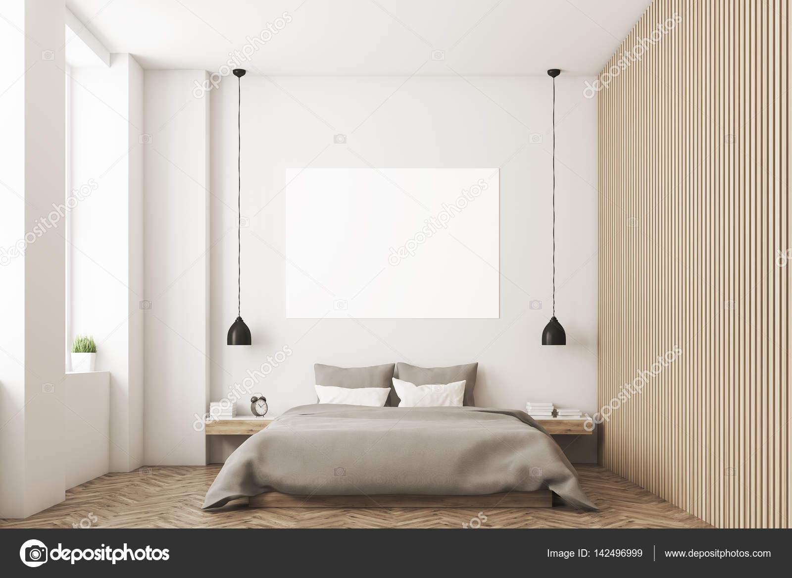 Schlafzimmer Mit Bild Und Holzwand U2014 Stockfoto