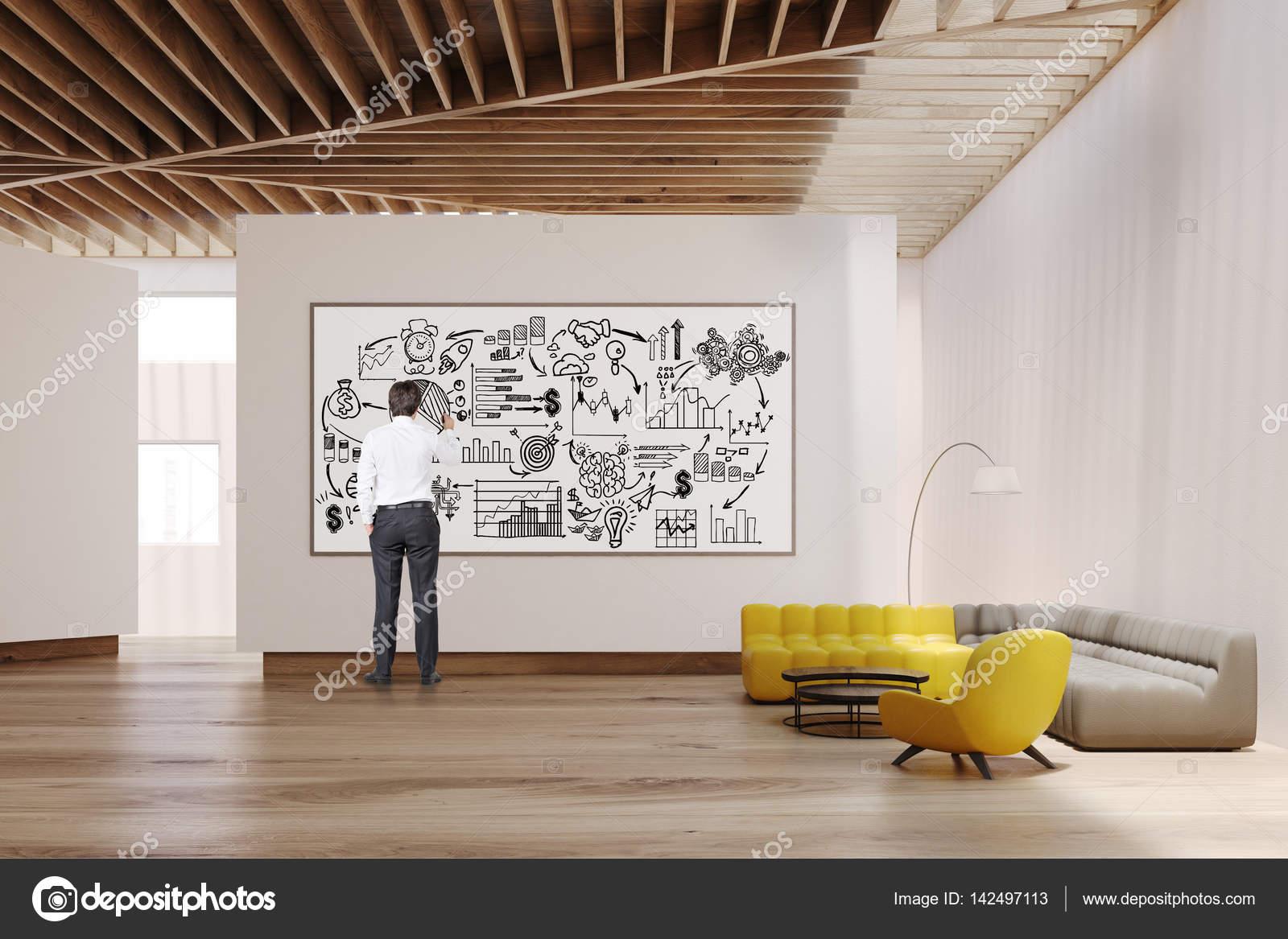 White living room interior, whiteboard, man — Stock Photo ...