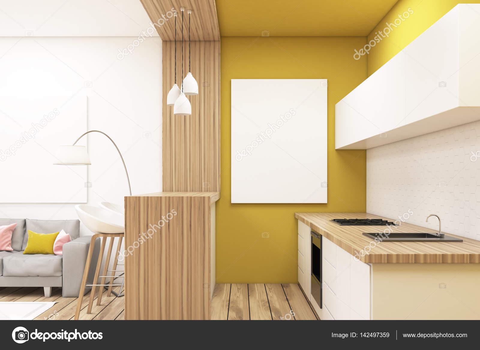 Coin Cuisine Dans Un Appartement. Il Y A Un Comptoir, Un Bar Avec Une  Rangée De Tabourets Et Une Image Verticale, Accroché Sur Un Mur Jaune.  Rendu 3D, ...