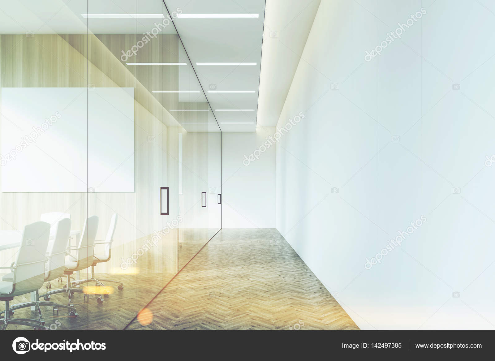Bedrijf corridor met poster afgezwakt u2014 stockfoto © denisismagilov
