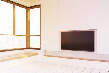 Empty room with a plasma TV, toned