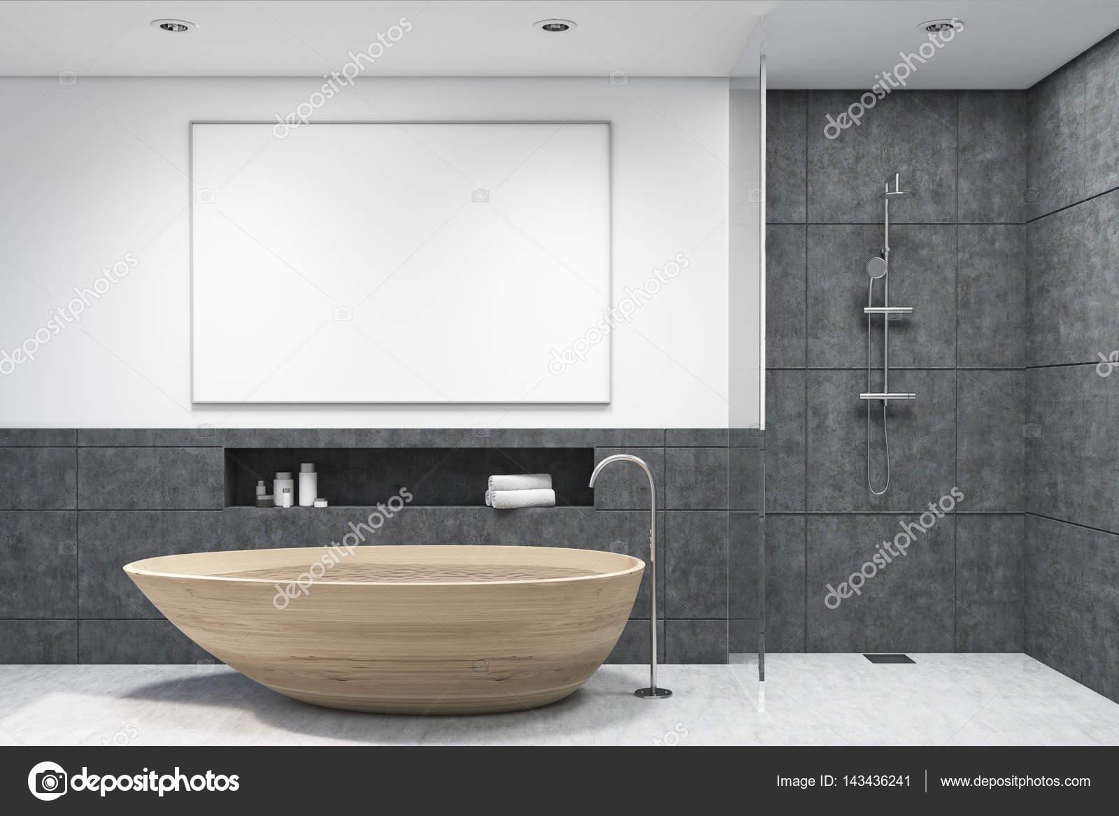 Bagno con vasca in legno poster orizzontale u foto stock