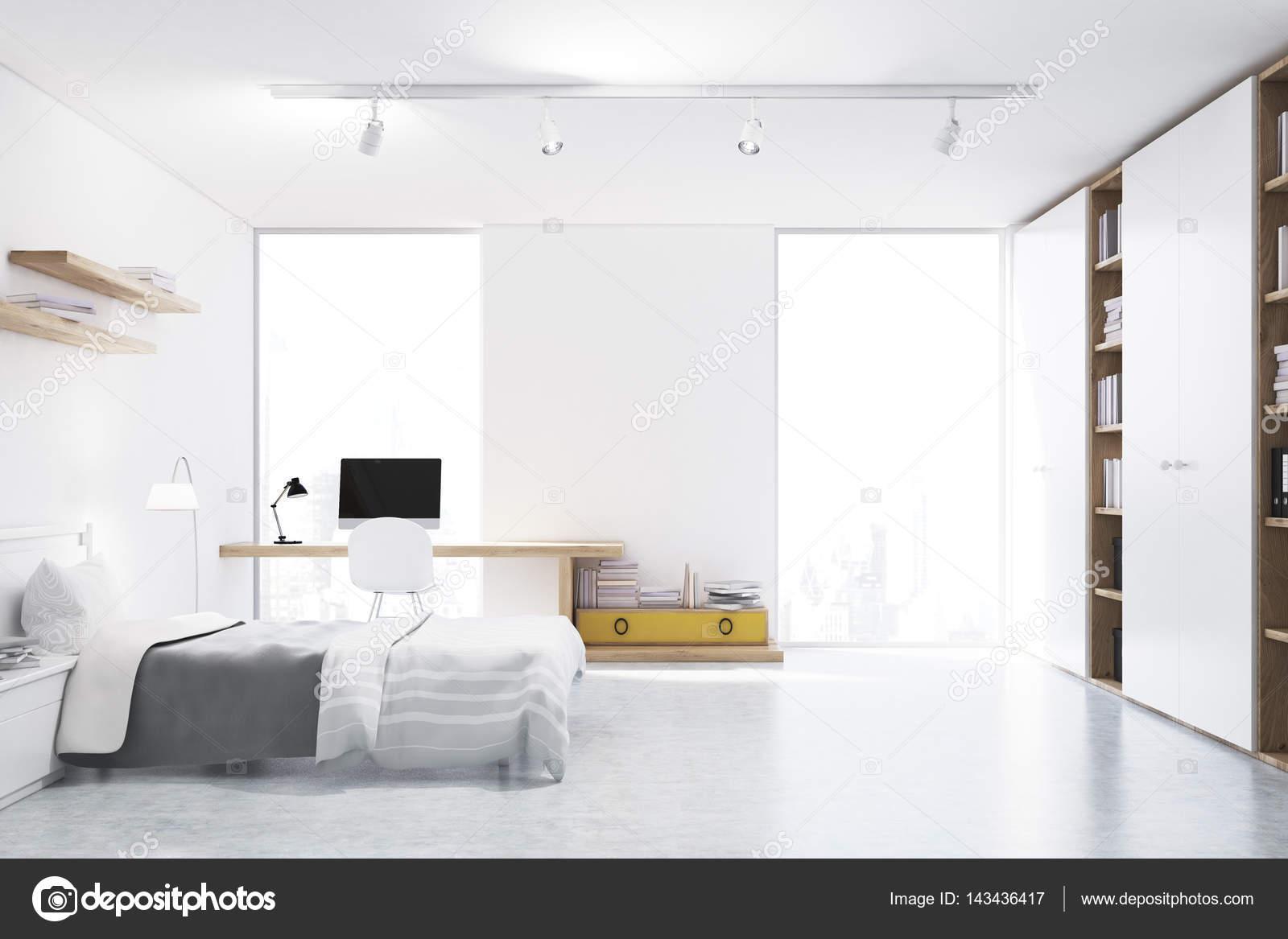 Bianco con pareti camera da letto con angolo studio - Angolo studio in camera da letto ...