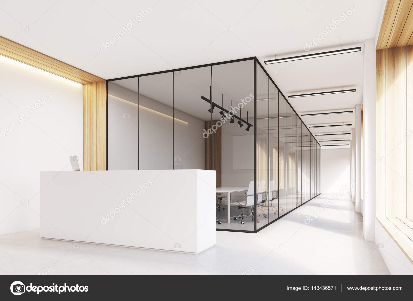 Hall dentrée bureau réception étroite vue latérale u2014 photographie