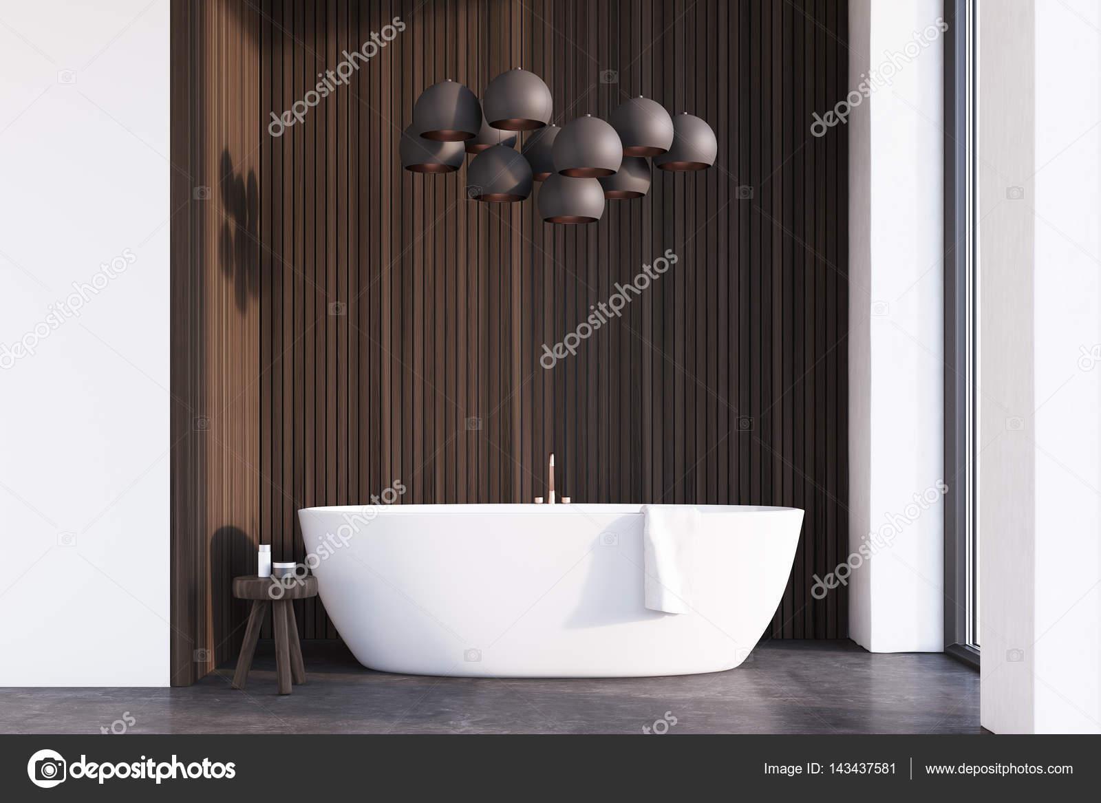 Badkamer met lampen, donker hout — Stockfoto © denisismagilov #143437581