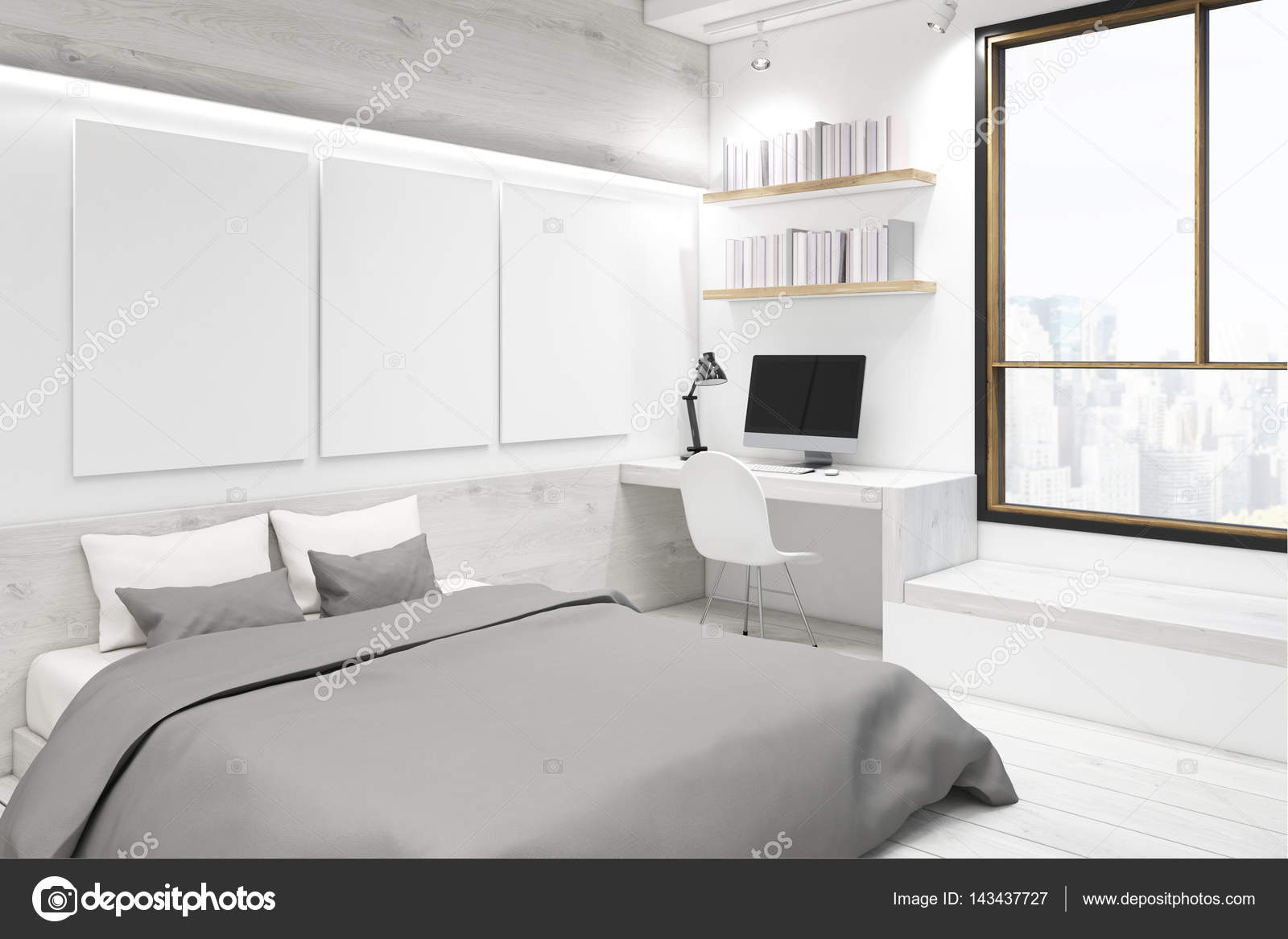 chambre coucher blanche avec galerie photo coin photo