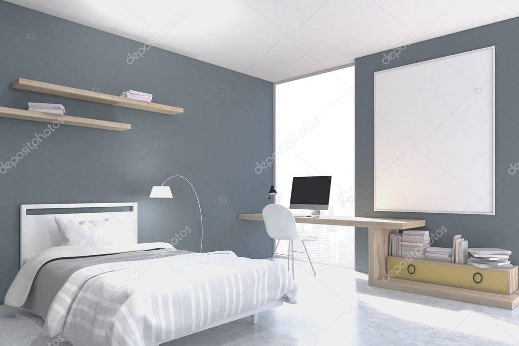 Grigio con pareti camera da letto con angolo studio foto stock denisismagilov 143436449 - Angolo studio in camera da letto ...
