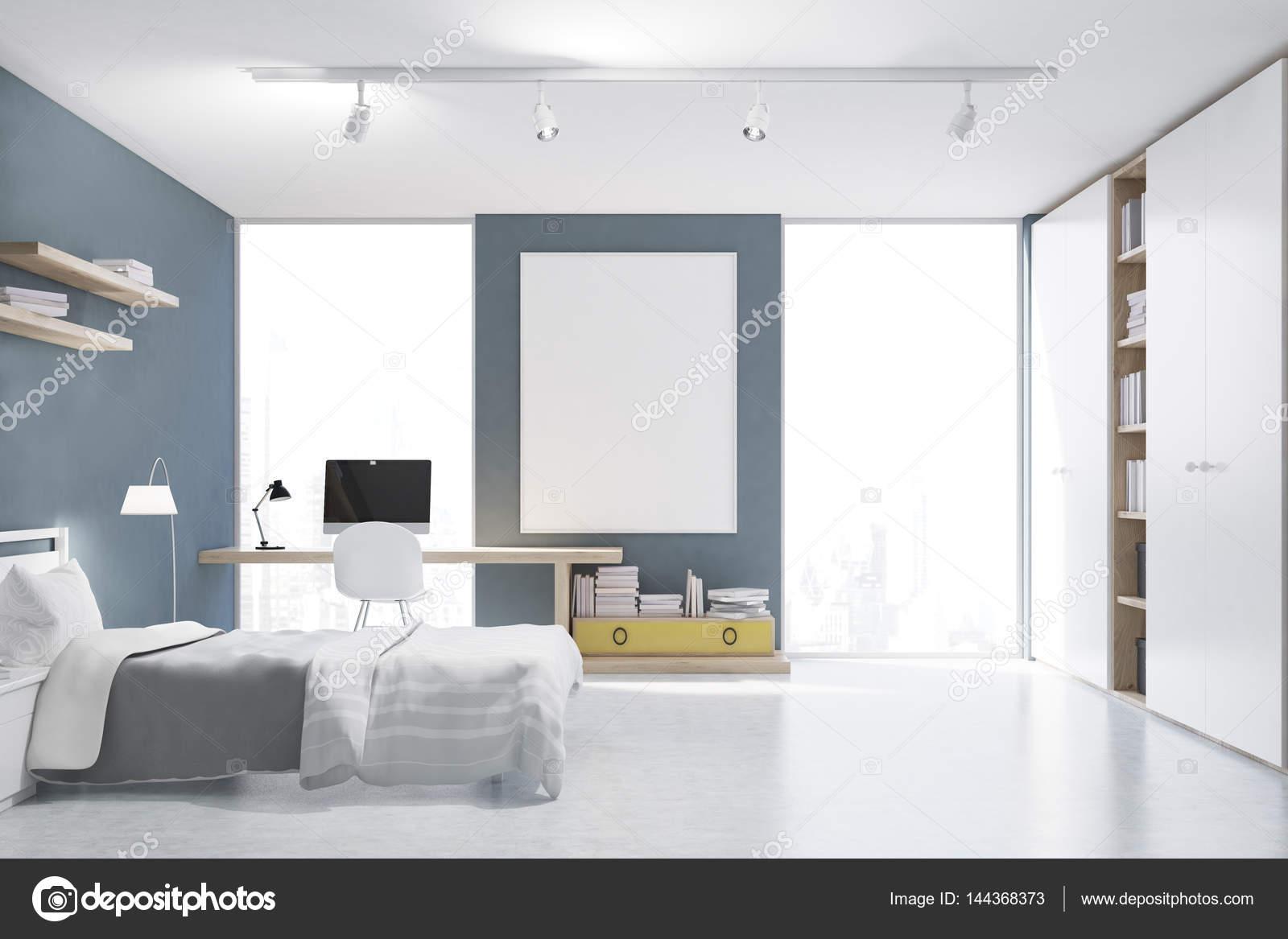 Grigio con pareti camera da letto con angolo studio, anteriore ...