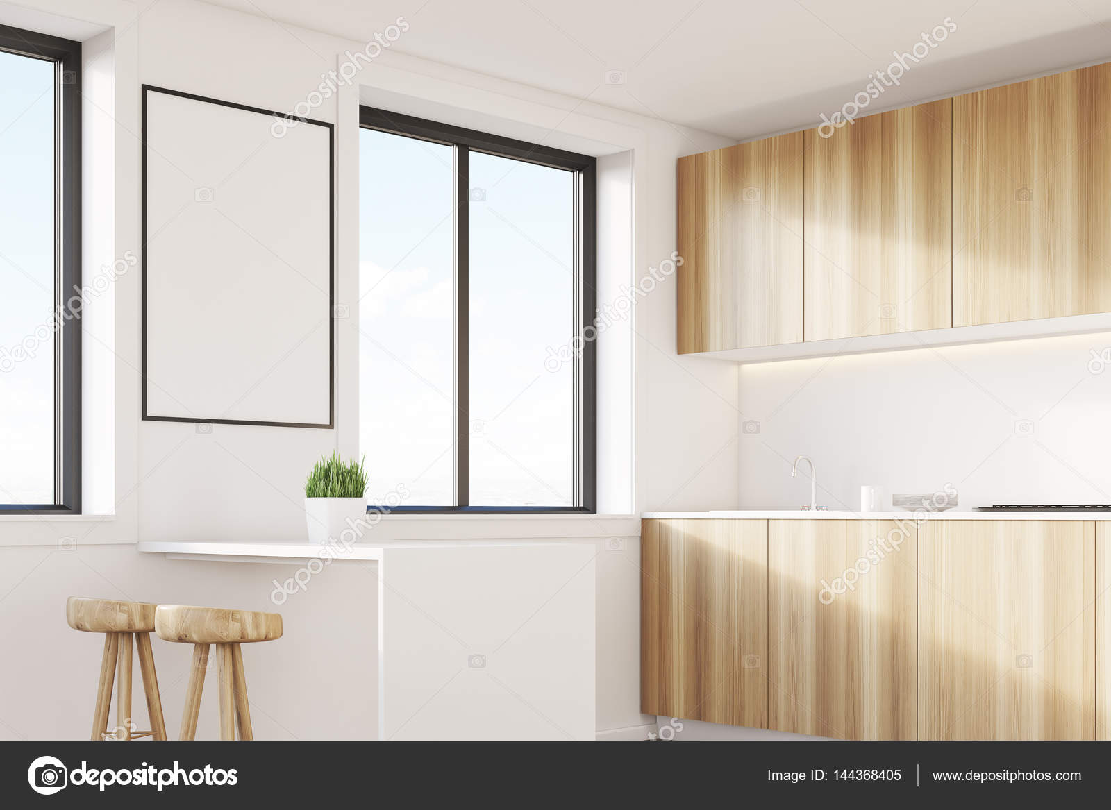 Leichte Holz Kochnische mit Tisch — Stockfoto © denisismagilov ...