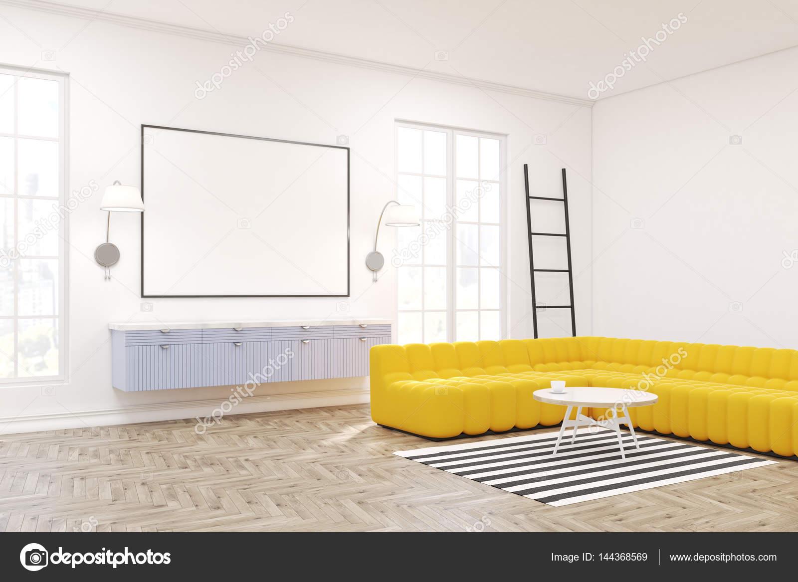 Moderne lounge interieur ingelijste poster blauw u stockfoto