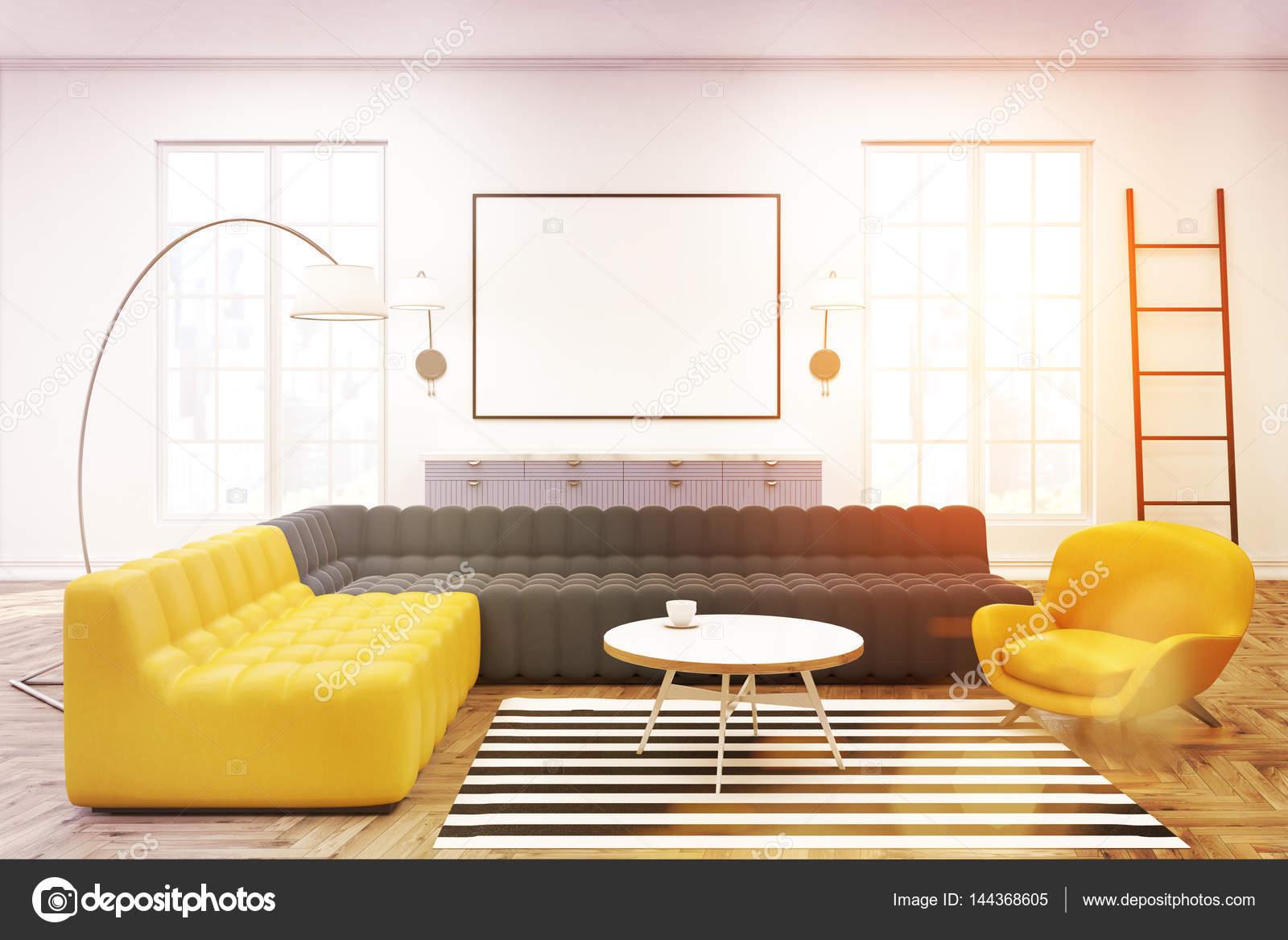 Moderne Lounge Interieur, Plakat, grau Sofa, getönt — Stockfoto ...