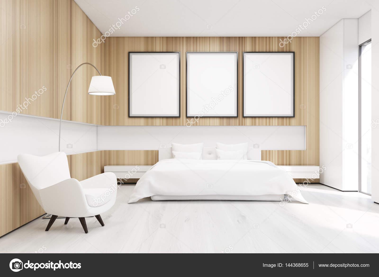 Slaapkamer met boom posters en fauteuil — Stockfoto © denisismagilov ...