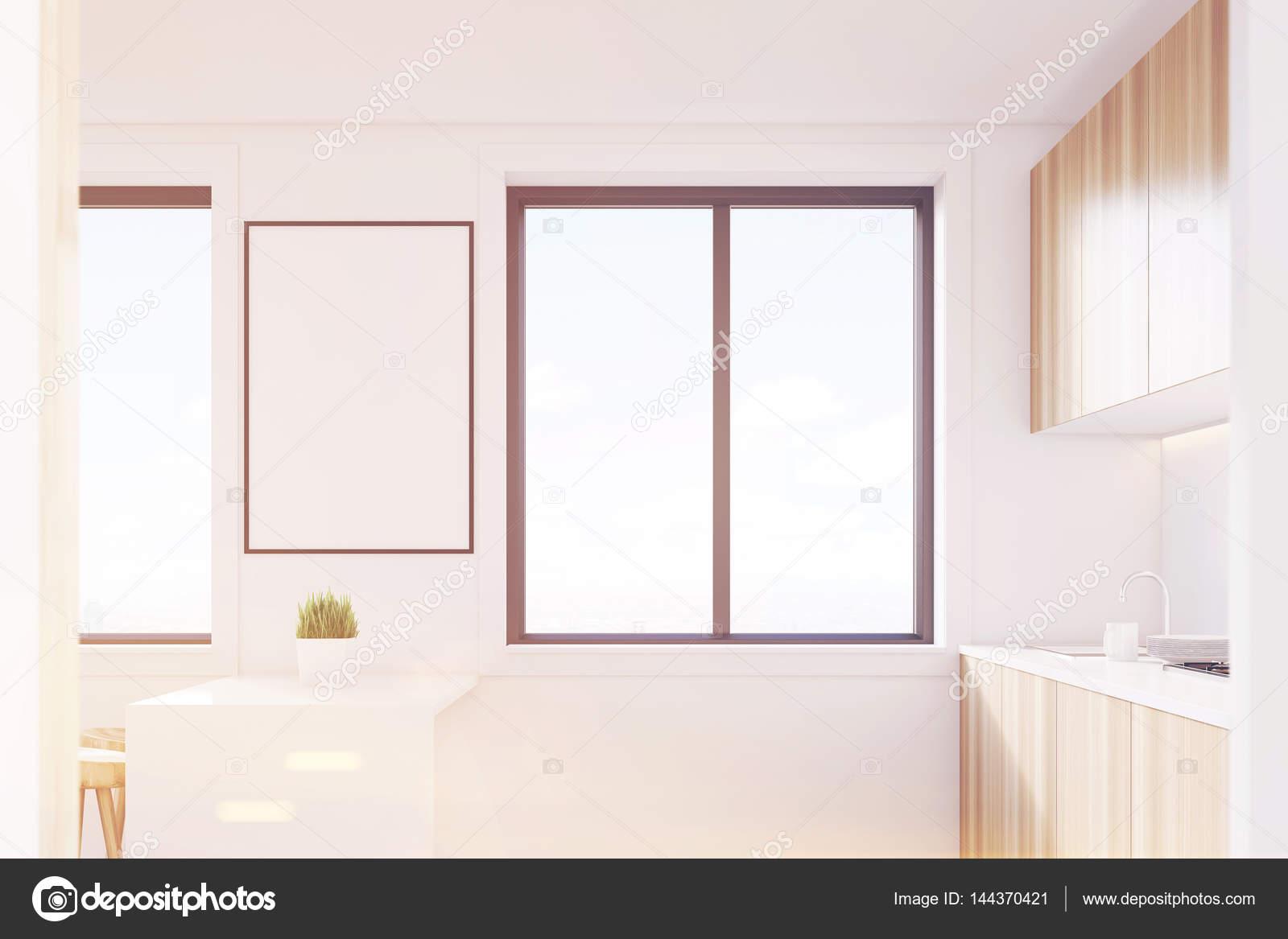 Vista laterale interna, cucina in legno chiaro, tonica — Foto Stock ...