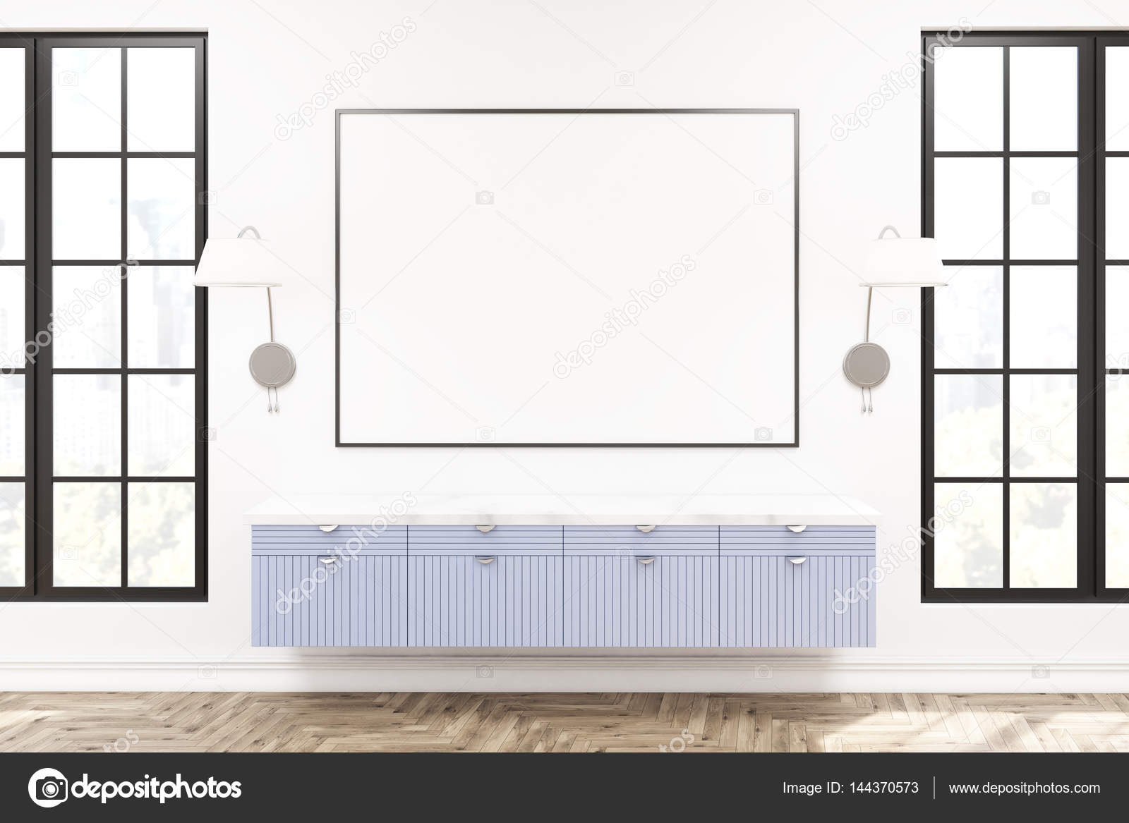 Moderne Woonkamer Interieur Houten Kast Stockfoto
