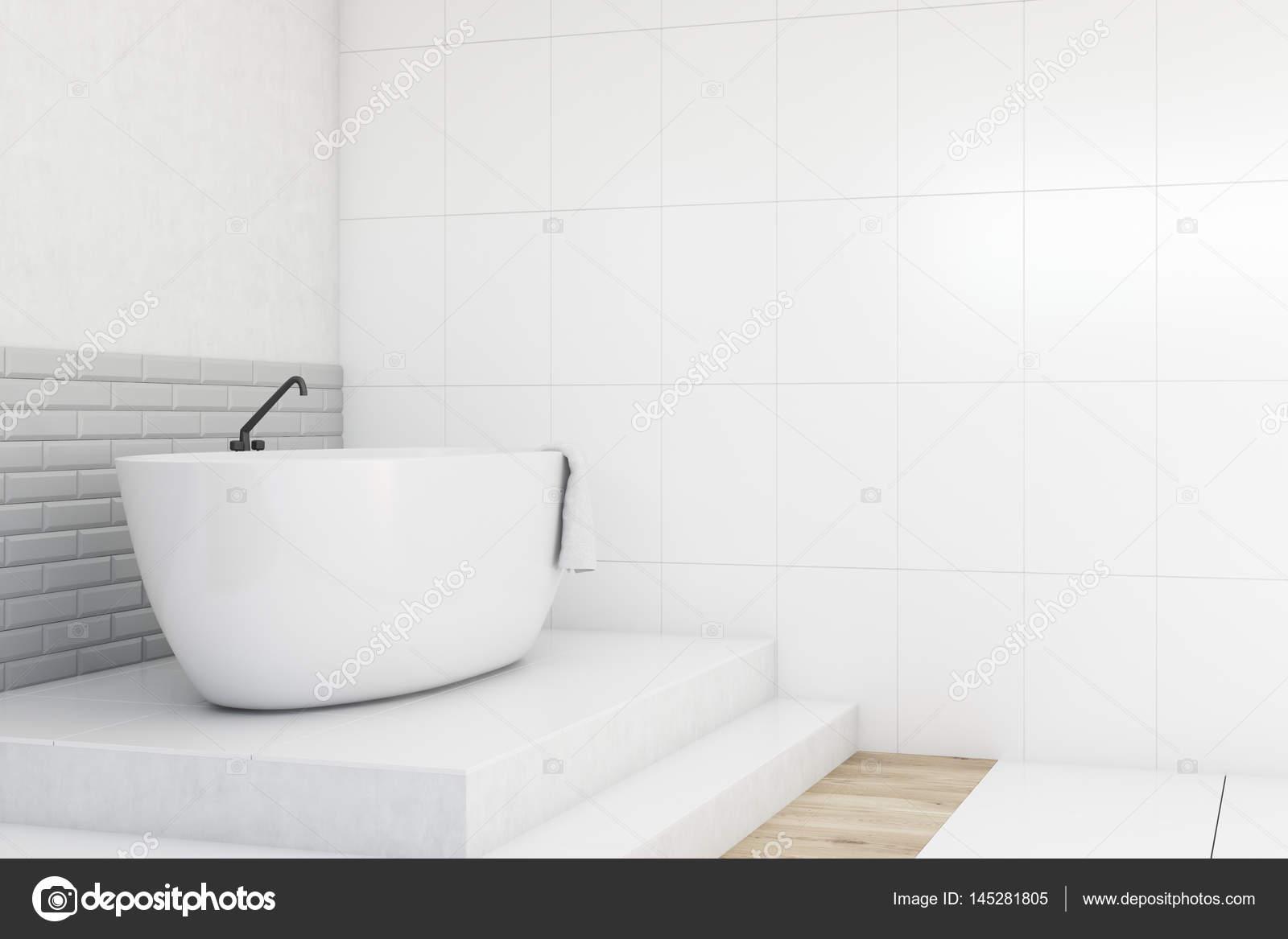 Badezimmer, weiß und grau, Seitenansicht — Stockfoto ...