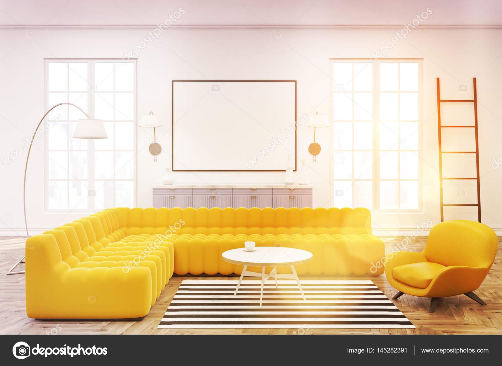 Moderne lounge interieur gerahmte poster getönt u stockfoto