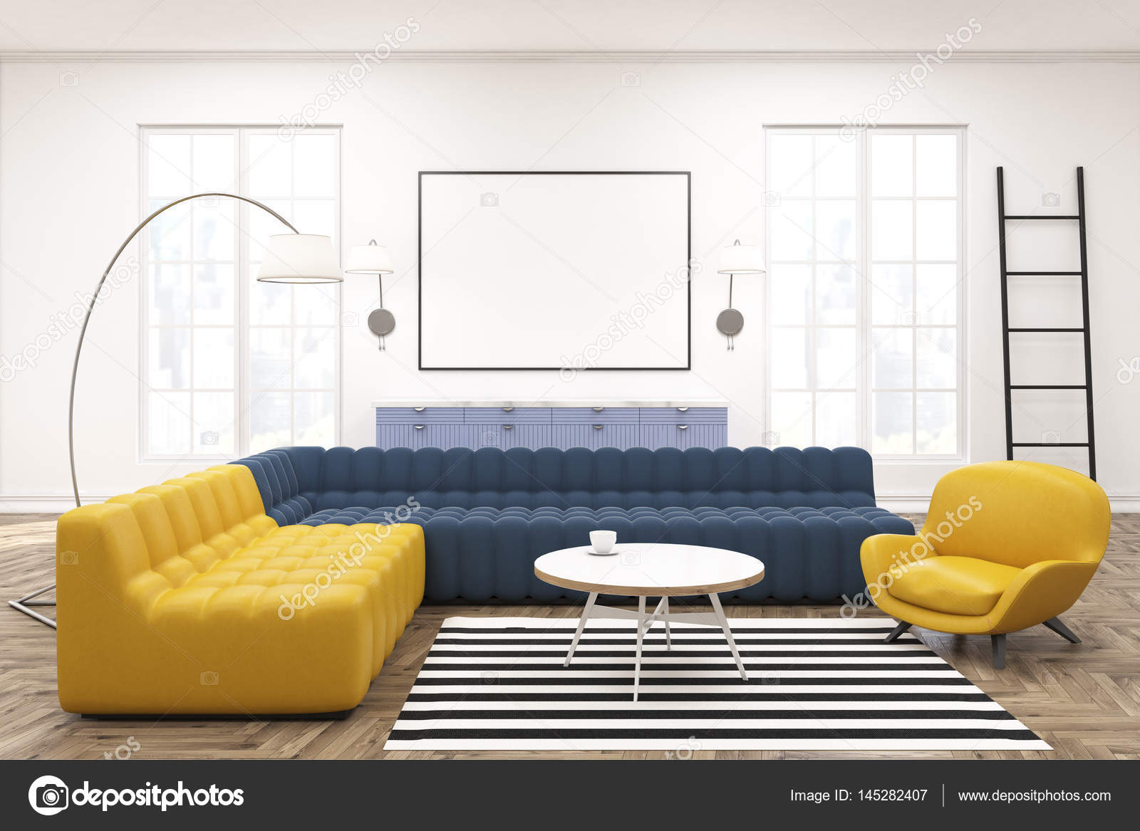 moderne lounge interieur poster banken stockfoto