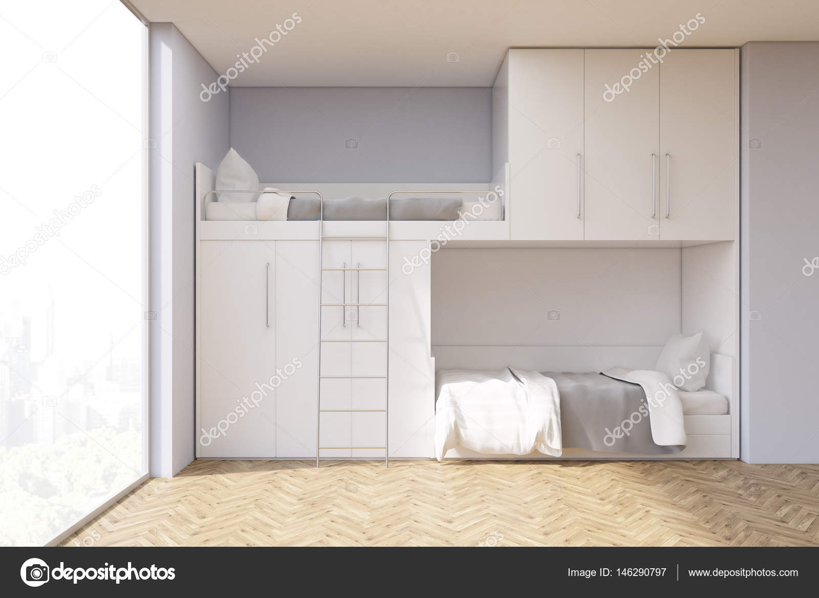 teenager zimmer mit einem etagenbett und fenster stockfoto denisismagilov 146290797. Black Bedroom Furniture Sets. Home Design Ideas