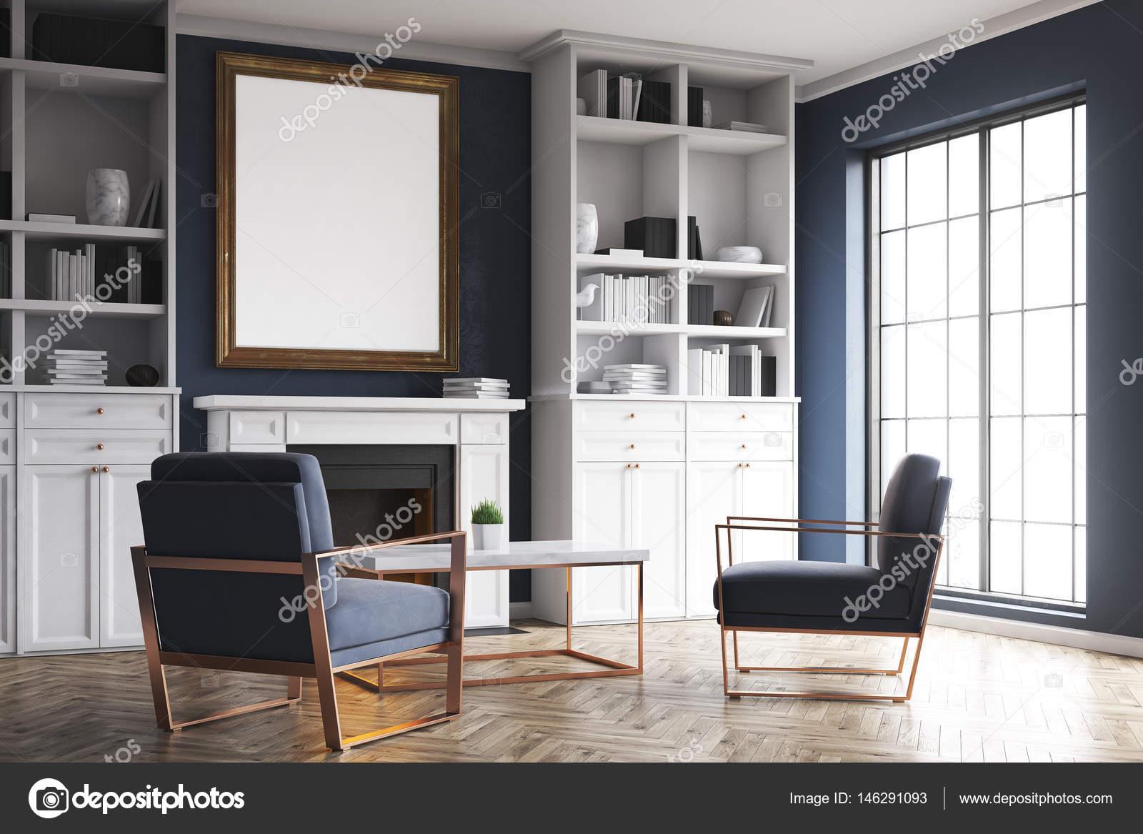 Ecke Innenministerium Ein Wohnzimmer Mit Kamin Und Zwei Blaue Sessel. Es  Gibt Zwei Bücherregalen Und Einem Vertikalen Poster. 3D Rendering.