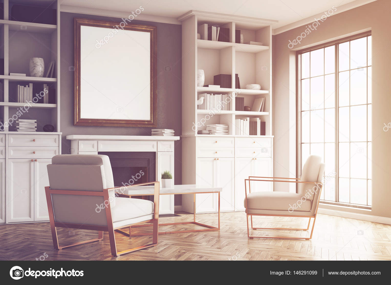 Woonkamer met grijze muren en een fauteuil, afgezwakt — Stockfoto ...