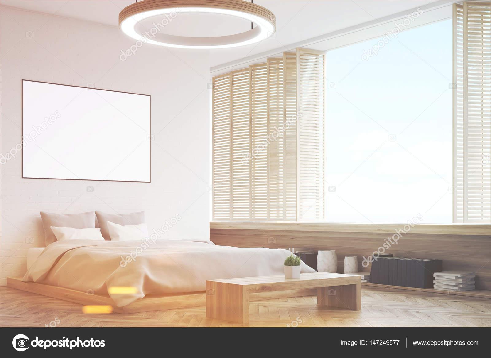 Hoek van een slaapkamer met een bankje, afgezwakt — Stockfoto ...