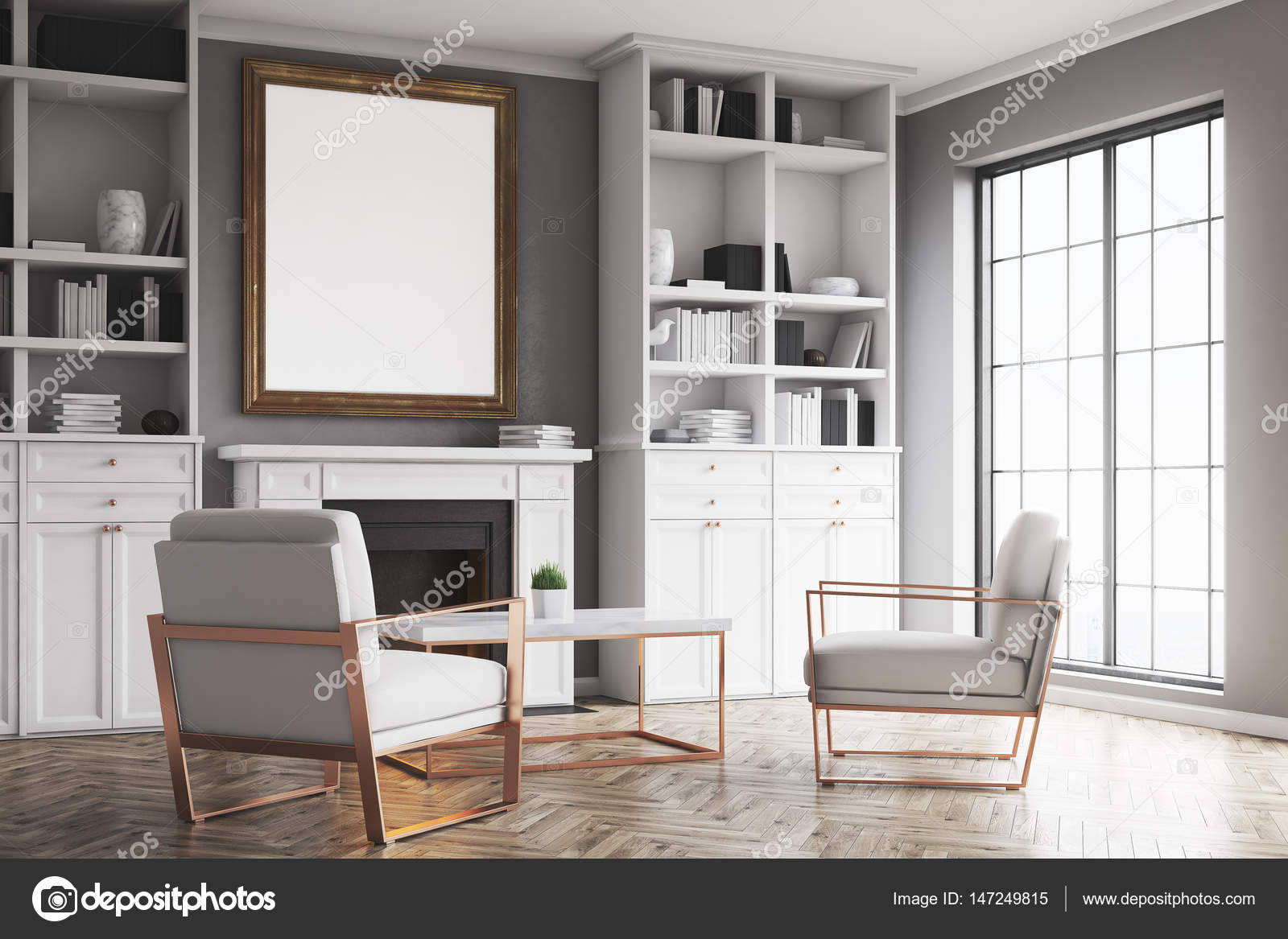 Soggiorno con pareti grigie e una poltrona — Foto Stock ...