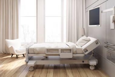 Gray walled hospital ward