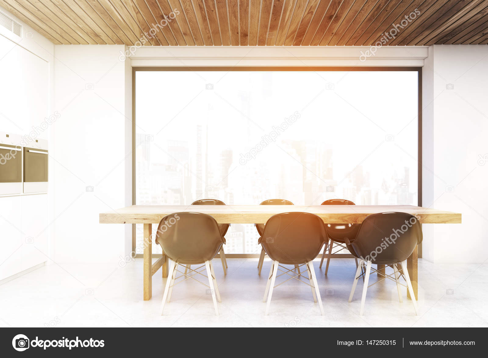 Kitchen table and large window, toned — Stock Photo © denisismagilov ...