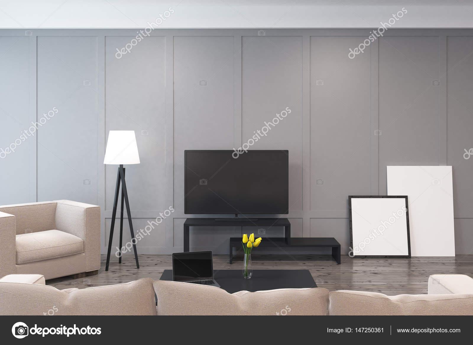 Soggiorno con un televisore u foto stock denisismagilov