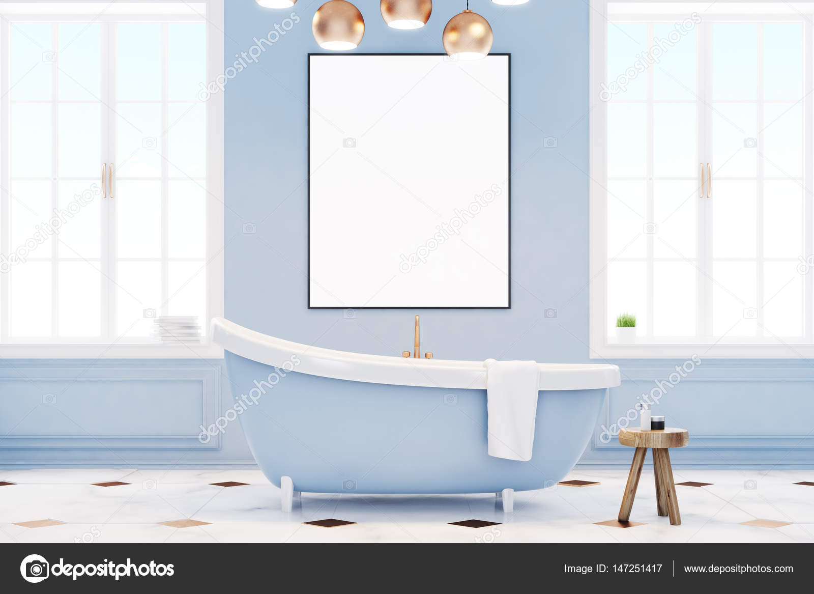 Blue bathroom interior with poster — Stock Photo © denisismagilov ...