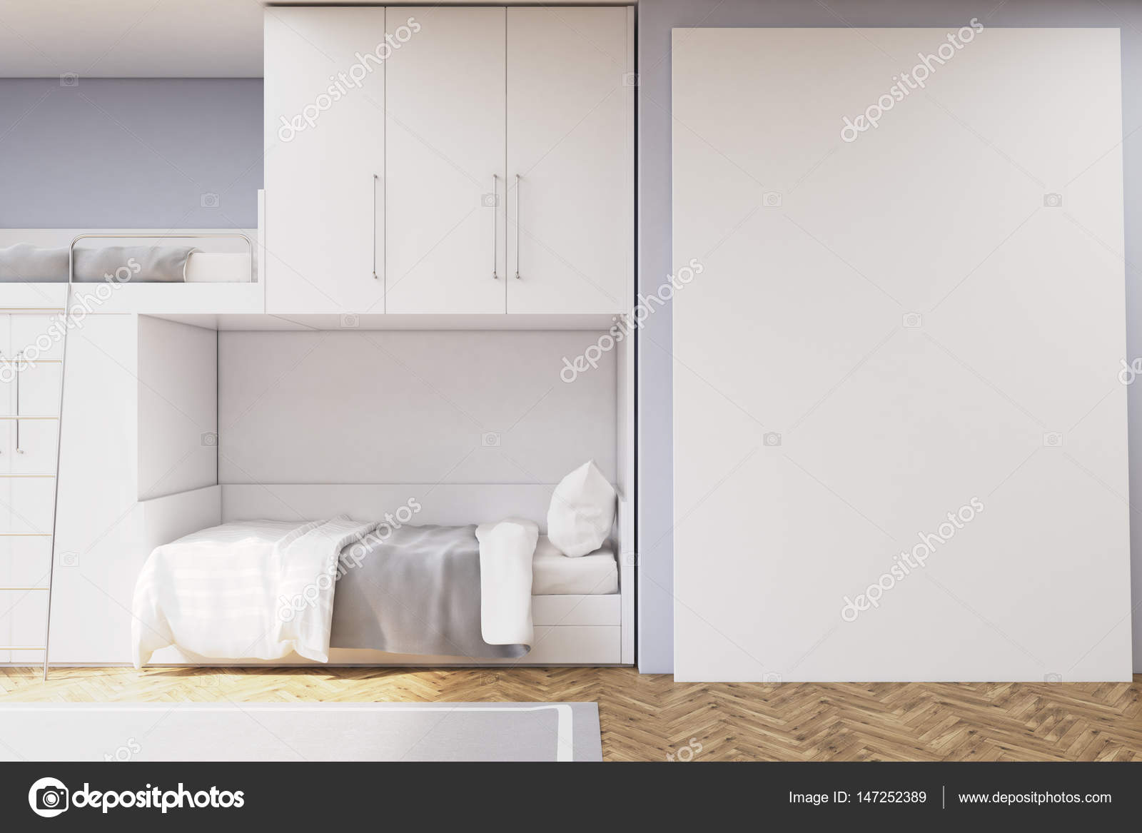 Tiener kamer met een stapelbed en een witte muur u stockfoto